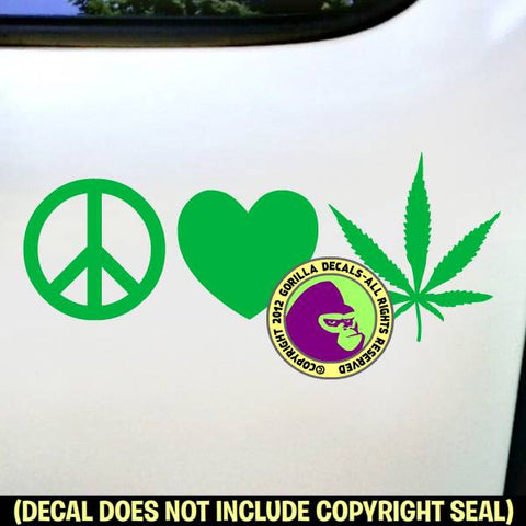 PEACE LOVE MARIJUANA Vinyl Decal Sticker