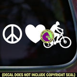 PEACE LOVE MOUNTAIN BIKING Vinyl Decal Sticker