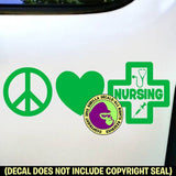 PEACE LOVE NURSING Vinyl Decal Sticker