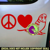 PEACE LOVE BUDGIE Parakeet Vinyl Decal Sticker