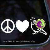 PEACE LOVE PIGEON Vinyl Decal Sticker