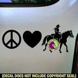 PEACE LOVE TRAIL RIDING Western Rider Vinyl Decal Sticker