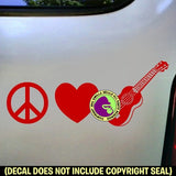 Ukulele - PEACE LOVE Uke Vinyl Decal Sticker