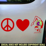 PEACE LOVE YOGA Vinyl Decal Sticker