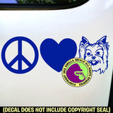 YORKIE Yorkshire Terrier - Peace Love - Dog Vinyl Decal Sticker