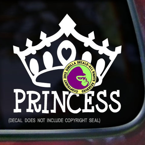PRINCESS Crown Tiara Vinyl Decal Sticker
