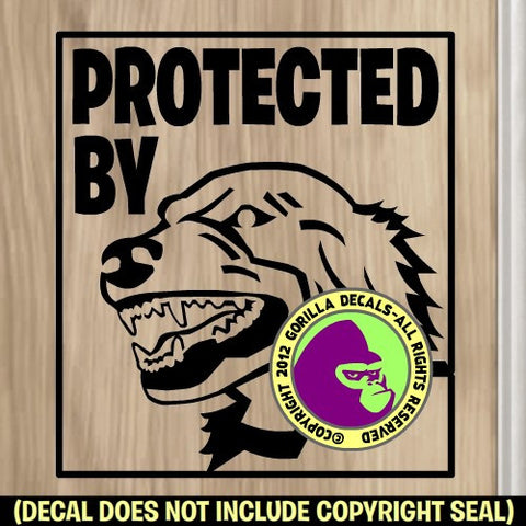 LARGE PROTECTED BY DOG Vinyl Decal Sticker