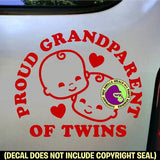 Proud Grandparent of Twins Vinyl Decal Sticker