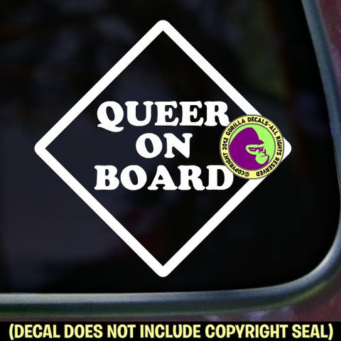 QUEER ON BOARD Vinyl Decal Sticker