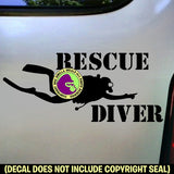 RESCUE DIVER Scuba Diver Diving Vinyl Decal Sticker