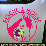RESCUE A HORSE Equine Vinyl Decal Sticker