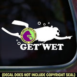 GET WET Scuba Diver Diving Vinyl Decal Sticker