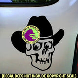 Skull Cowboy Hat Vinyl Decal Sticker