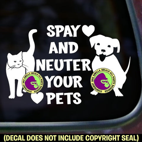 SPAY NEUTER YOUR PETS Vinyl Decal Sticker