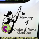 SPRINGBOARD DIVER Female - Memorial  - ADD YOUR CUSTOM WORDS - Vinyl Decal Sticker