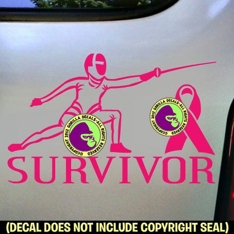 BREAST CANCER FENCING Survivor Vinyl Decal Sticker