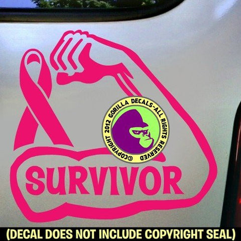 BREAST CANCER STRONG ARM Fighter Survivor Vinyl Decal Sticker