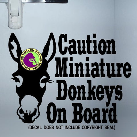 MINIATURE DONKEYS ON BOARD Large Trailer Vinyl Decal Sticker