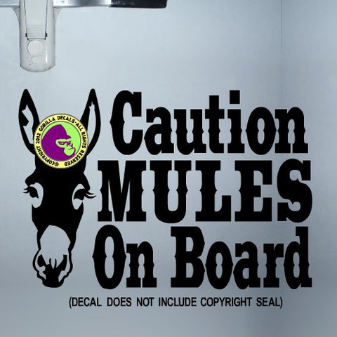 CAUTION MULES ON BOARD Face Trailer Vinyl Decal Sticker
