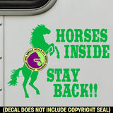 HORSES INSIDE STAY BACK REARING HORSE On Board Caution Trailer Vinyl Decal Sticker