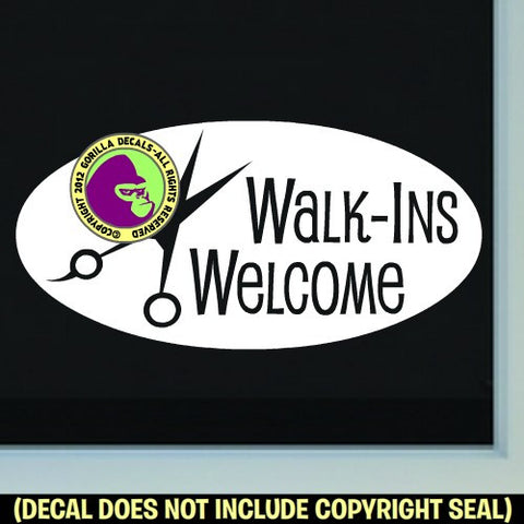 BIG WALK-INS WELCOME ROUND Shears Hair Vinyl Decal Sticker