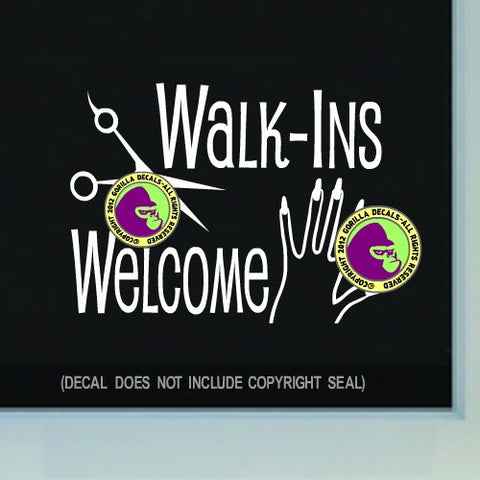 HAIR + NAILS WALK-INS WELCOME  Vinyl Decal Sticker