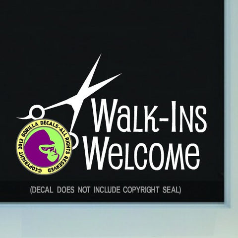 WALK-INS WELCOME Hair Salon Vinyl Decal Sticker