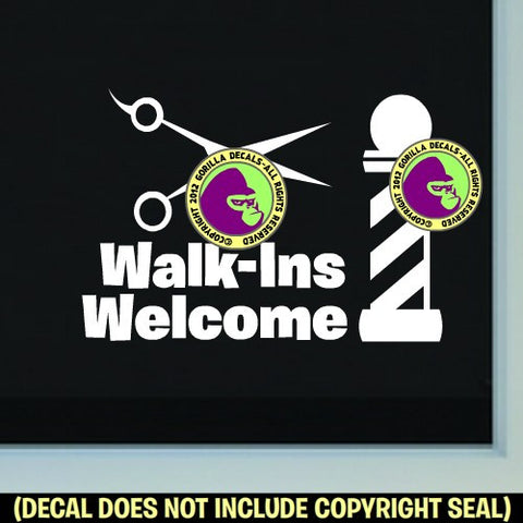 BARBER WALK-INS WELCOME Shears Vinyl Decal Sticker
