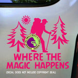 MAGIC HAPPENS Hiking Vinyl Decal Sticker