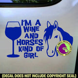 WINE & HORSES GIRL Vinyl Decal Sticker
