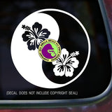 YIN YANG HIBISCUS Vinyl Decal Sticker