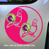 YIN YANG PIGEON Vinyl Decal Sticker