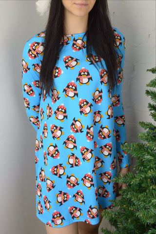 Penguin Christmas Swing Dress Ladies Blue