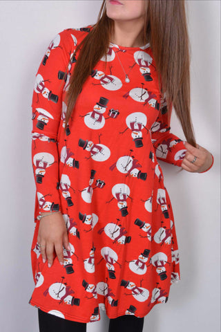 Frosty Snowman Christmas Swing Dress Ladies Red