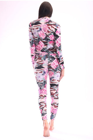 Aya Floral Camouflage Print Joggers Grey