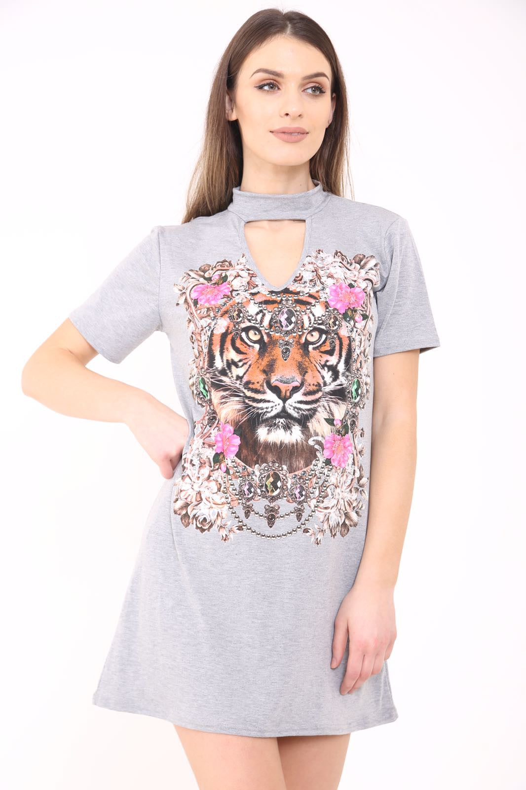 Choker Neck Tiger T-Shirt Dress Grey