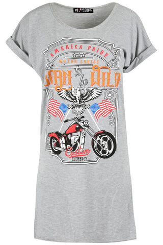 Born To Be Wild Baggy Oversized T-Shirt Grey