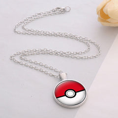 Pokeball Glass Necklace Silver