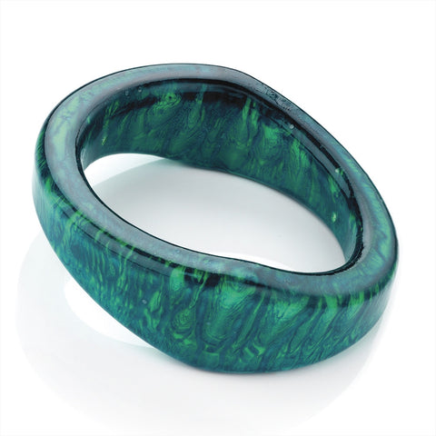 Aqua Green Tone Marble Effect Fashion Bangle