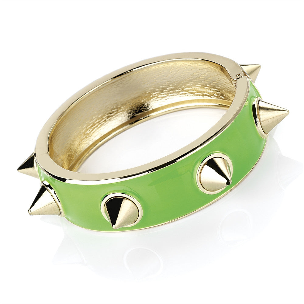 Neon Green Enamel and Gold Colour Stud Hinge Bangle - Miss Tempted