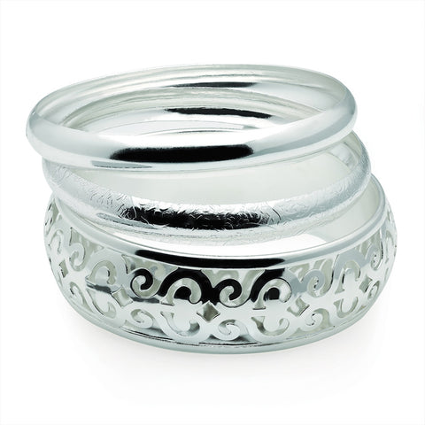Three Piece Shiny Silver Colour Filigree Design Bangle Set