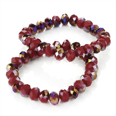 Two Piece Red Glass Bead Elastic Bracelet Set - Miss Tempted
