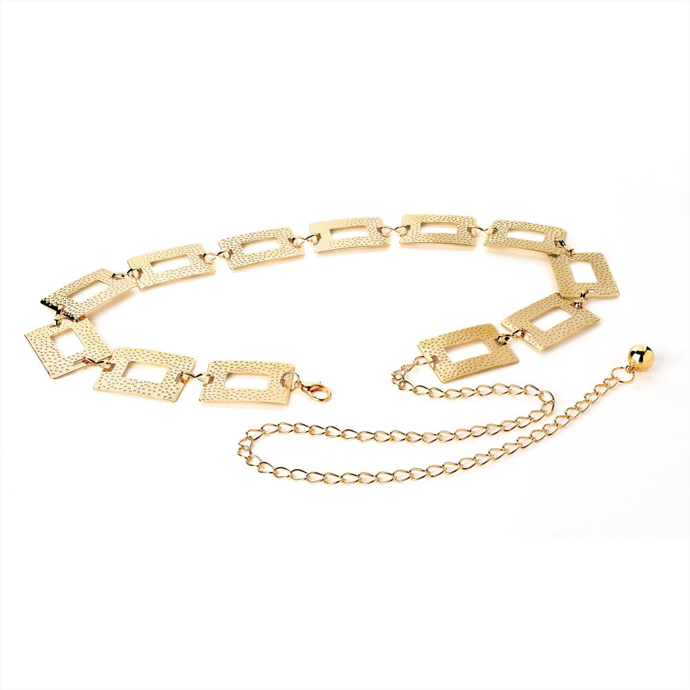 Shiny Gold Colour Rectangle Textured Effect Chain Belt - Miss Tempted