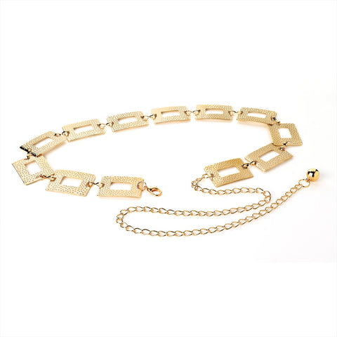 Shiny Gold Colour Rectangle Textured Effect Chain Belt