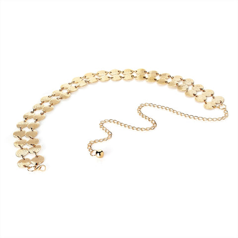 Shiny Gold Colour Two Row Round Link Chain Belt