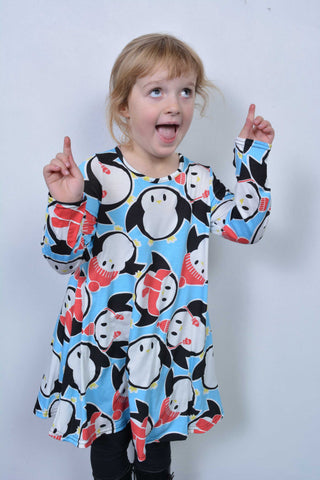 Monty Penguin Christmas Swing Dress Kids Blue