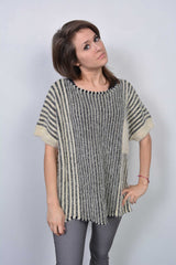 Eyelash Striped Knitted Jumper Cream - Miss Tempted  - 1