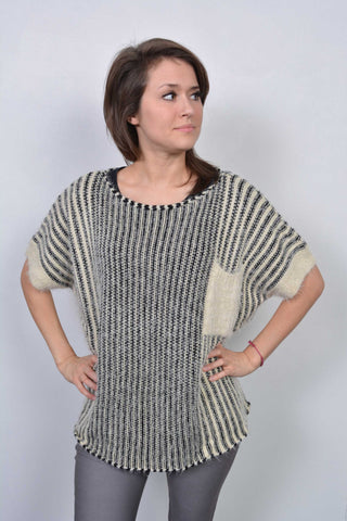 Eyelash Striped Knitted Jumper Cream