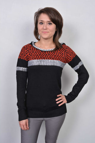 Aztec Print Hooded Jumper Red