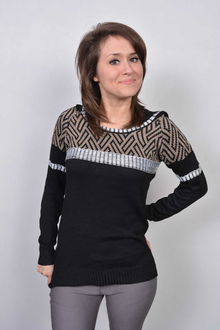 Aztec Print Hooded Jumper Brown